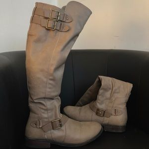 Shoes - Taupe Knee High Boots